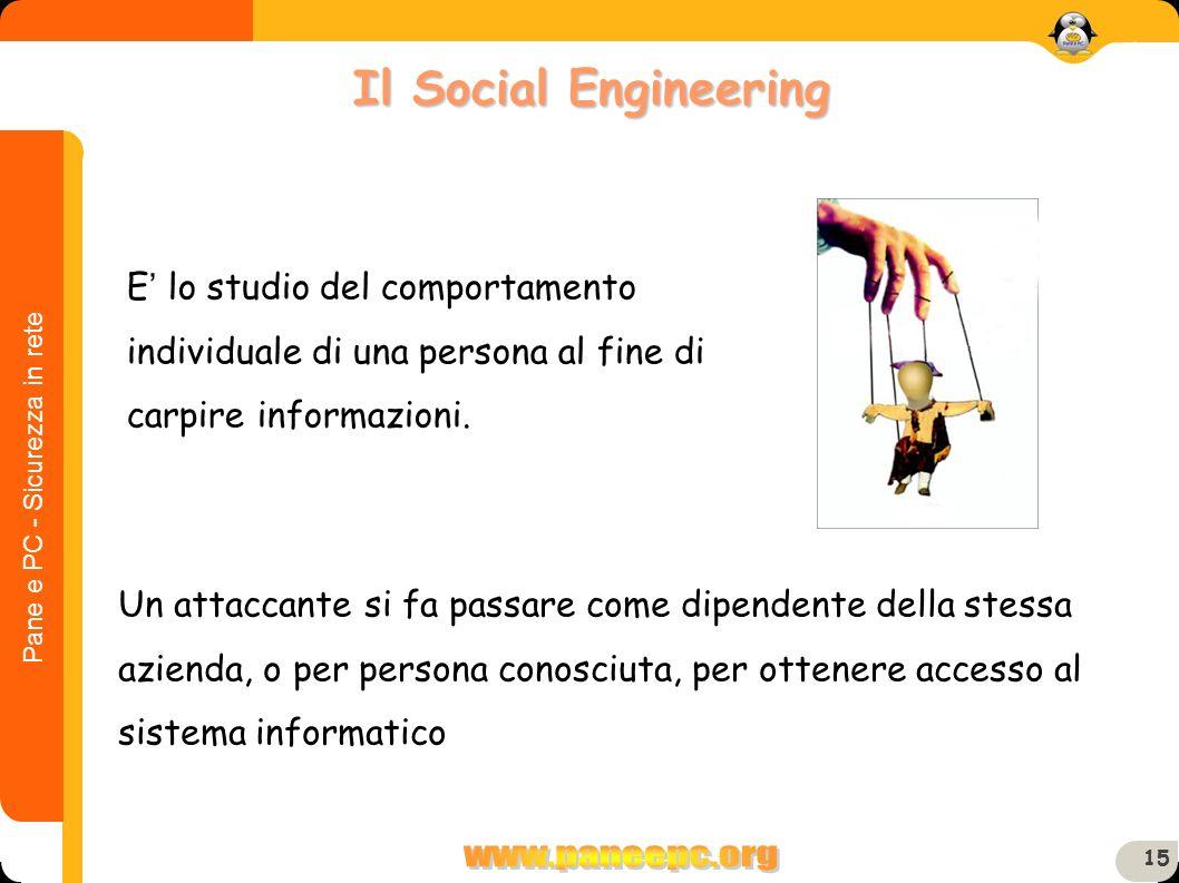 Il Social Engineering E' lo studio del comportamento individuale di una persona al fine di carpire informazioni.