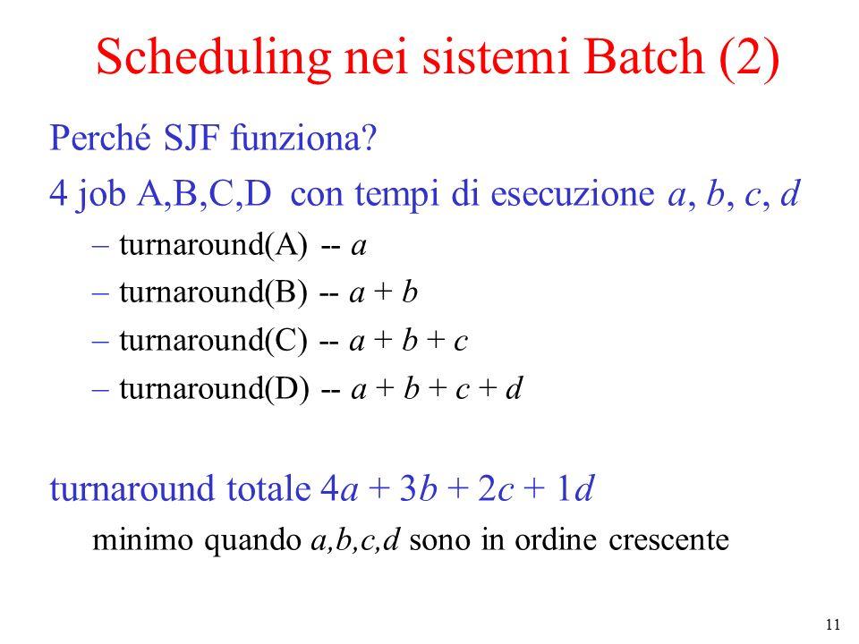 Scheduling nei sistemi Batch (2)