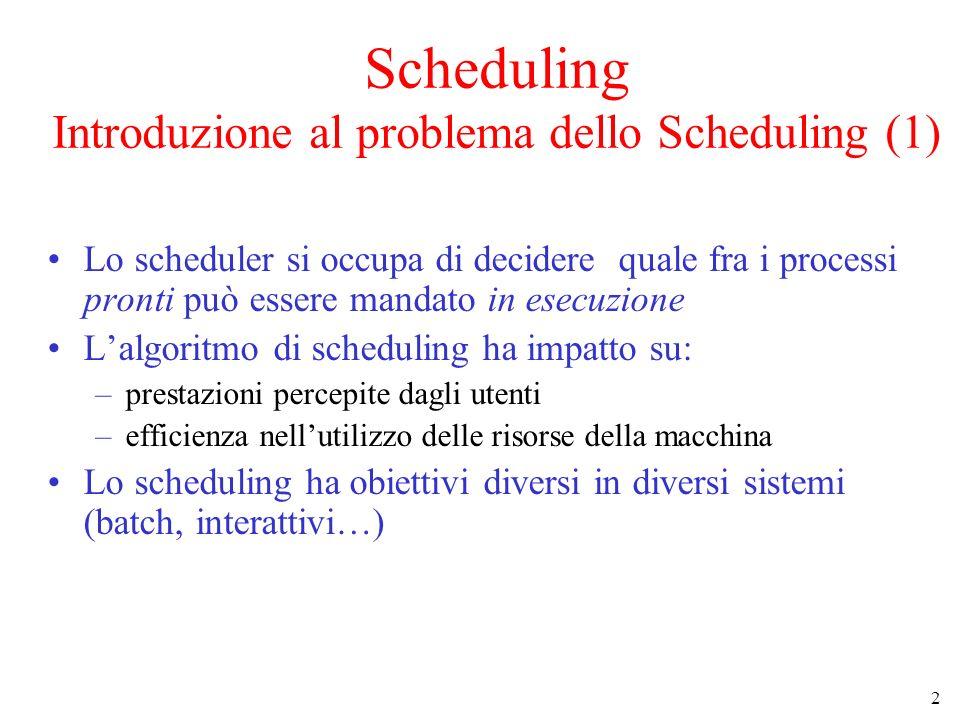 Scheduling Introduzione al problema dello Scheduling (1)