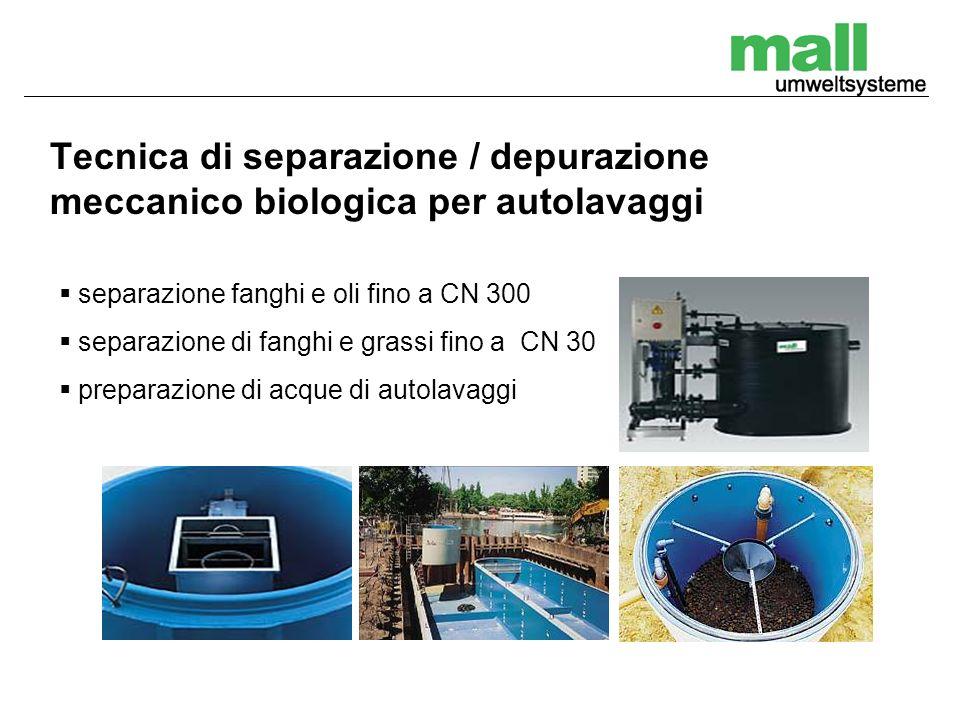 Tecnica di separazione / depurazione meccanico biologica per autolavaggi