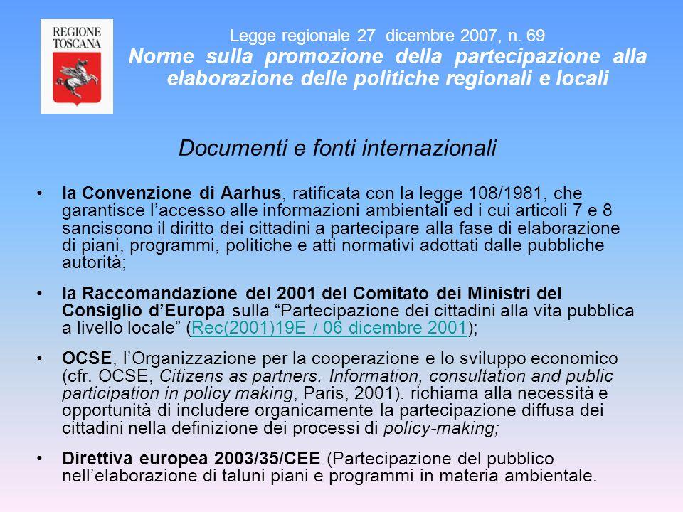 Documenti e fonti internazionali