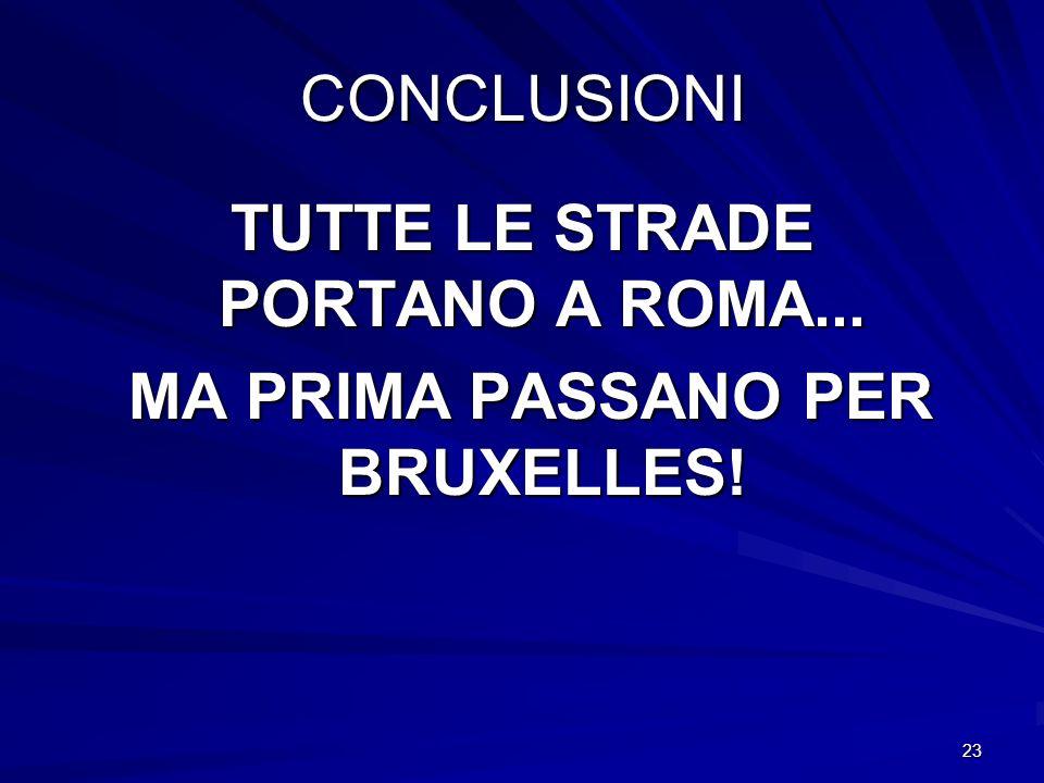 TUTTE LE STRADE PORTANO A ROMA... MA PRIMA PASSANO PER BRUXELLES!