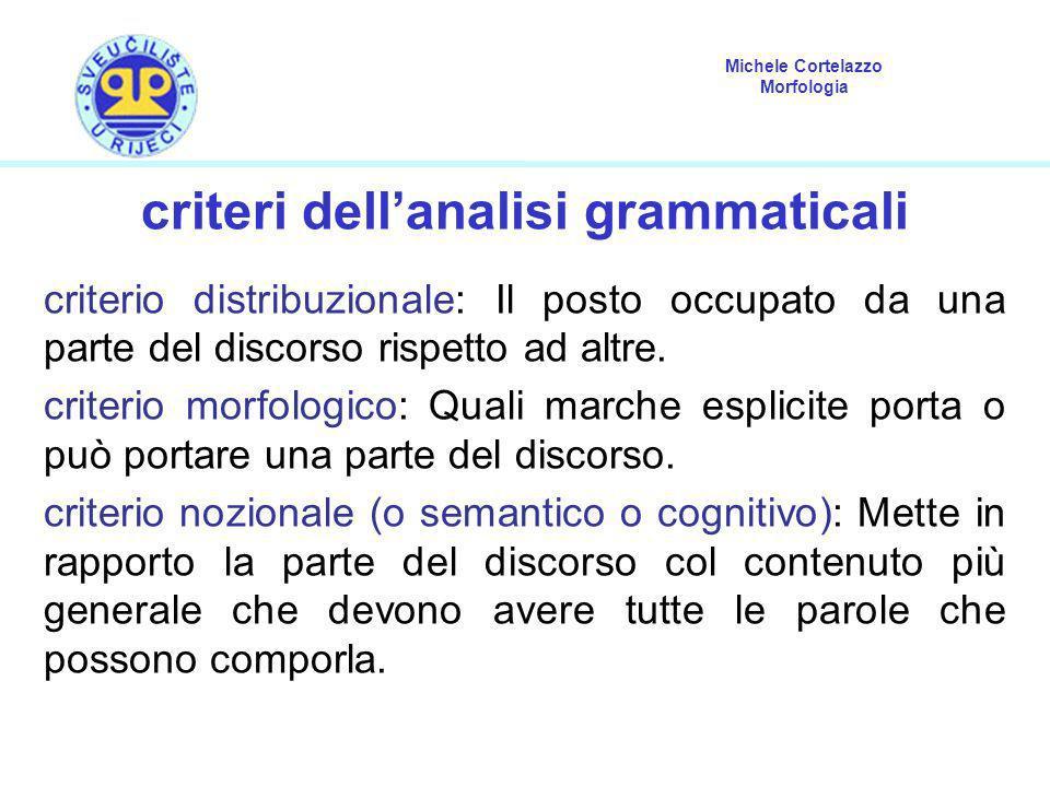 criteri dell'analisi grammaticali