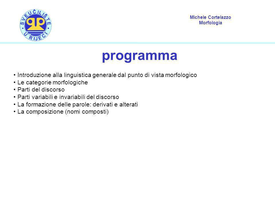programma Introduzione alla linguistica generale dal punto di vista morfologico. Le categorie morfologiche.