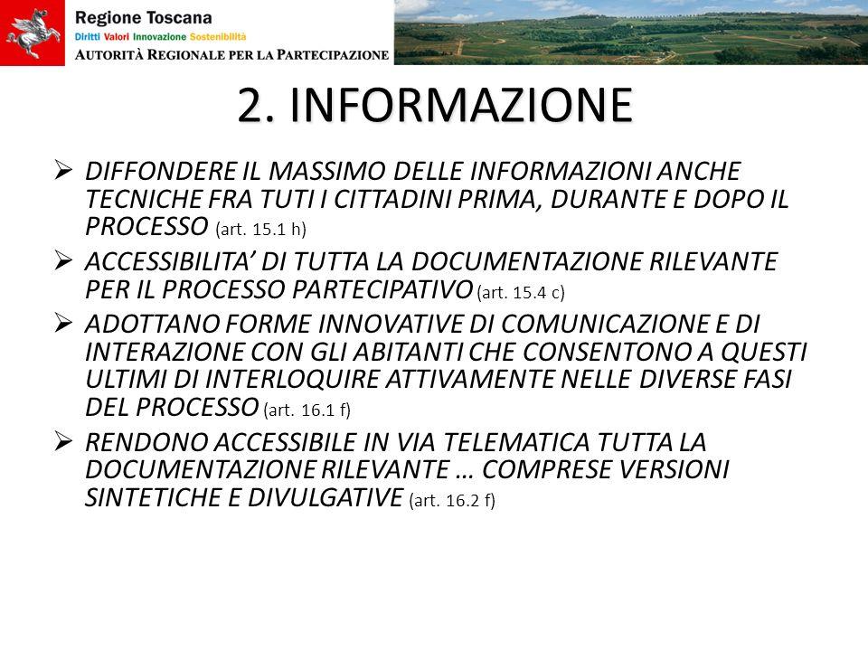 2. INFORMAZIONE DIFFONDERE IL MASSIMO DELLE INFORMAZIONI ANCHE TECNICHE FRA TUTI I CITTADINI PRIMA, DURANTE E DOPO IL PROCESSO (art. 15.1 h)