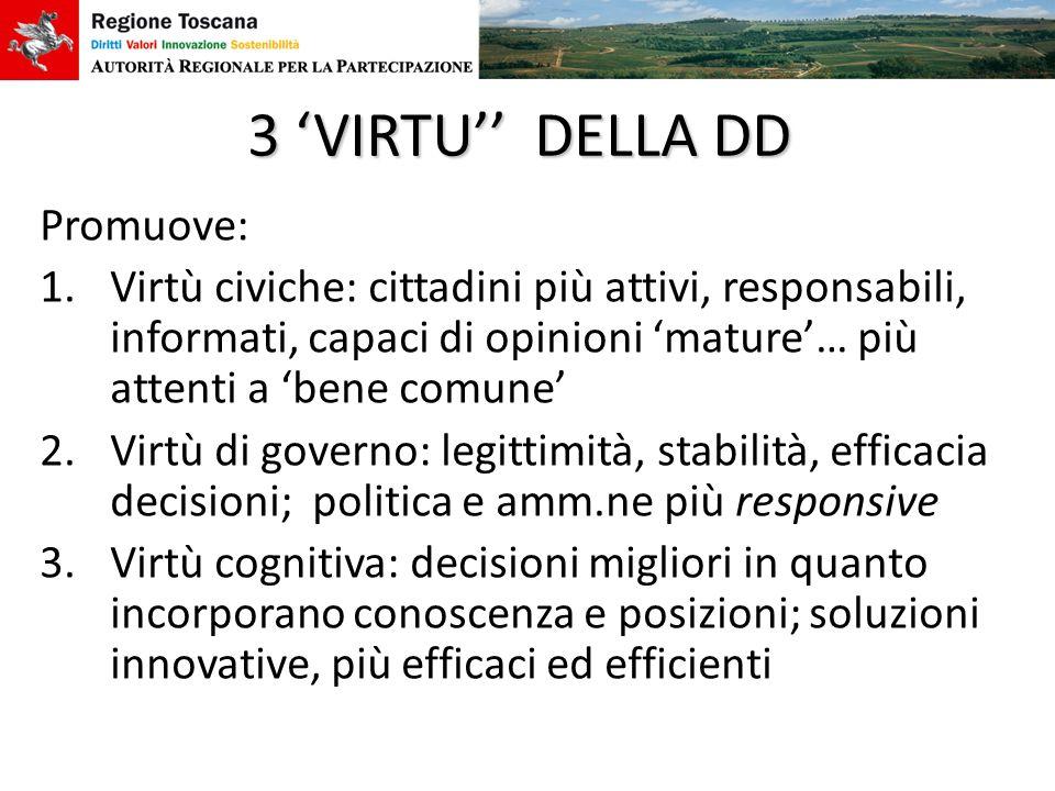 3 'VIRTU'' DELLA DD Promuove: