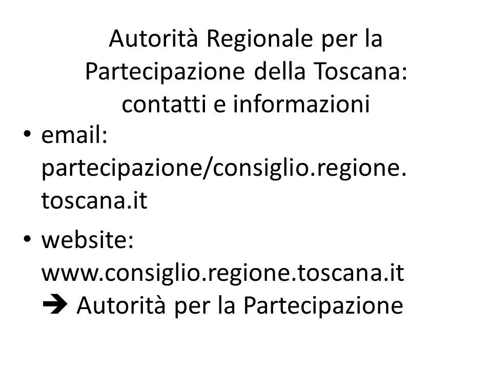 Autorità Regionale per la Partecipazione della Toscana: contatti e informazioni