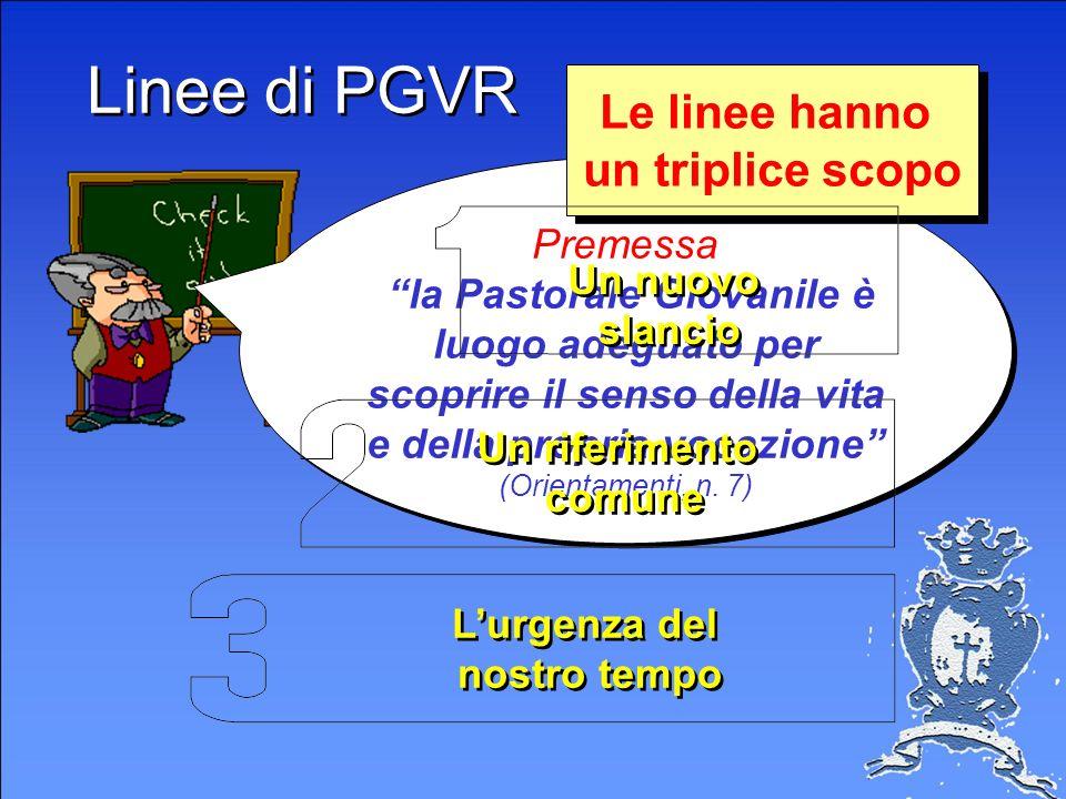 Linee di PGVR Le linee hanno un triplice scopo Premessa