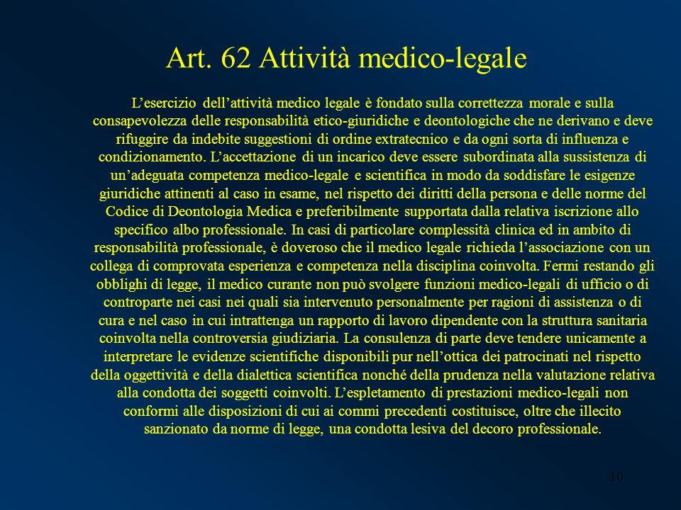 Art. 62 Attività medico-legale