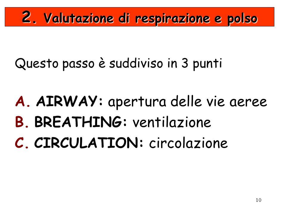2. Valutazione di respirazione e polso