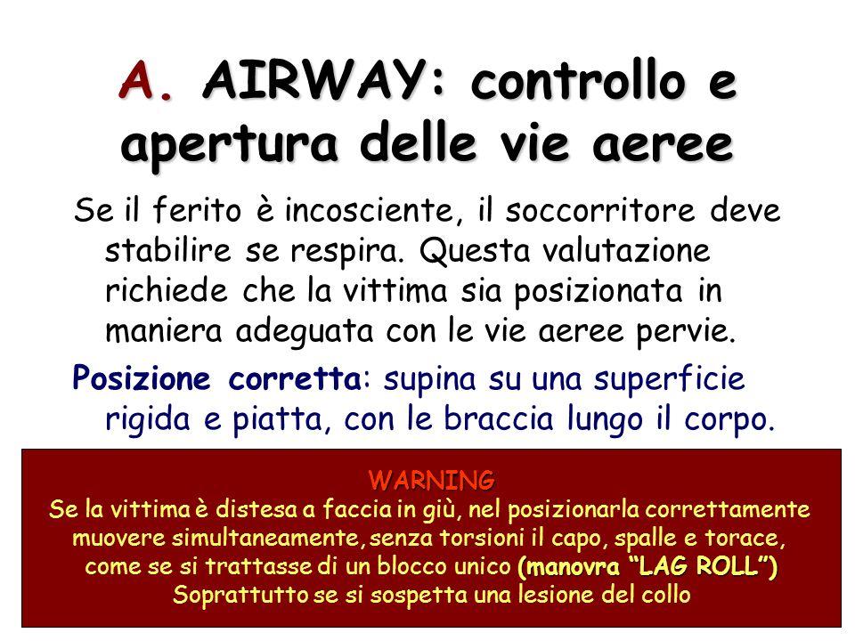 A. AIRWAY: controllo e apertura delle vie aeree