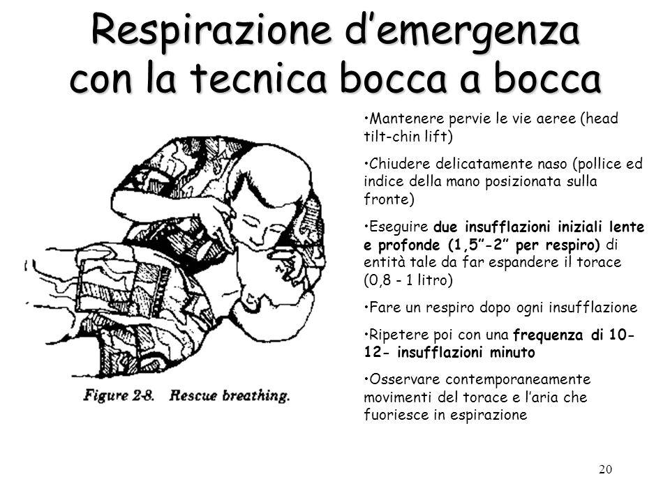 Respirazione d'emergenza con la tecnica bocca a bocca