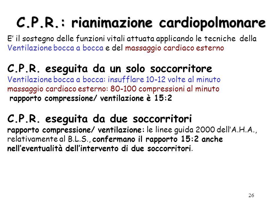 C.P.R.: rianimazione cardiopolmonare