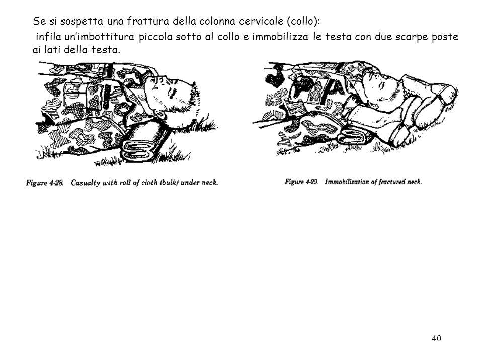 Se si sospetta una frattura della colonna cervicale (collo):
