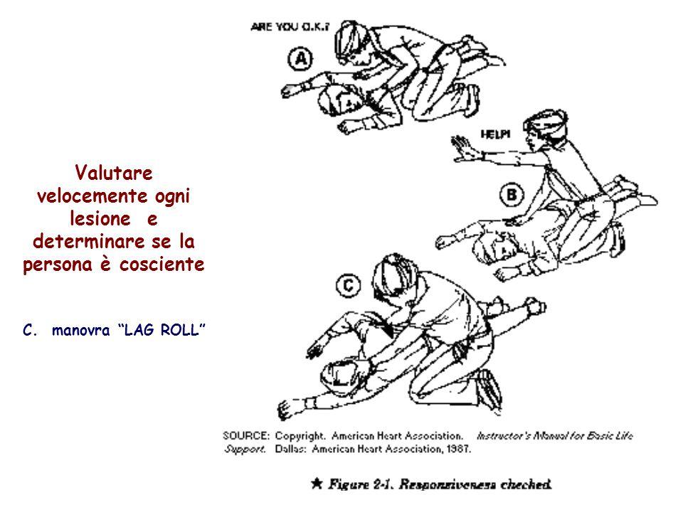 Valutare velocemente ogni lesione e determinare se la persona è cosciente C. manovra LAG ROLL