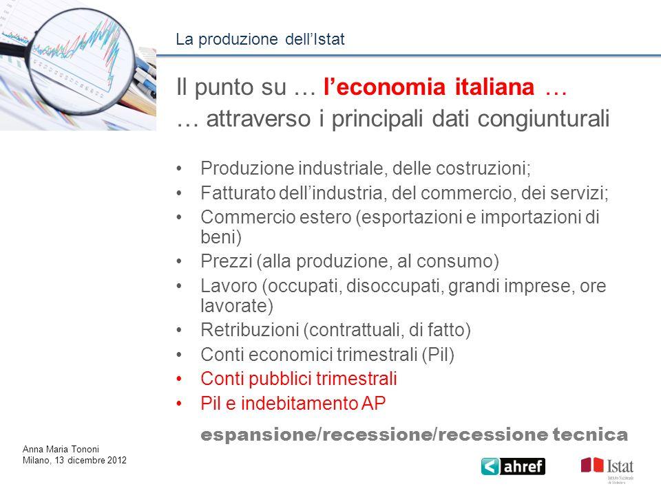 : Il punto su … l'economia italiana …