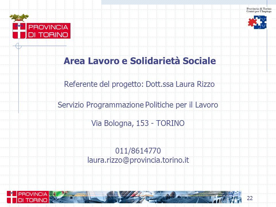 Area Lavoro e Solidarietà Sociale Referente del progetto: Dott
