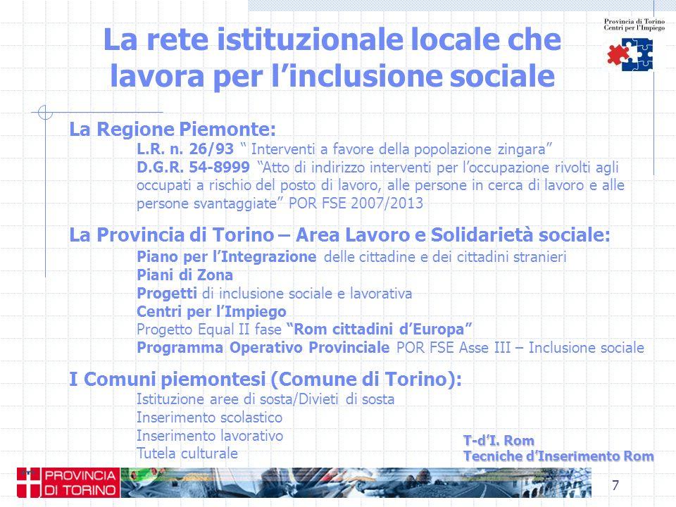 La rete istituzionale locale che lavora per l'inclusione sociale
