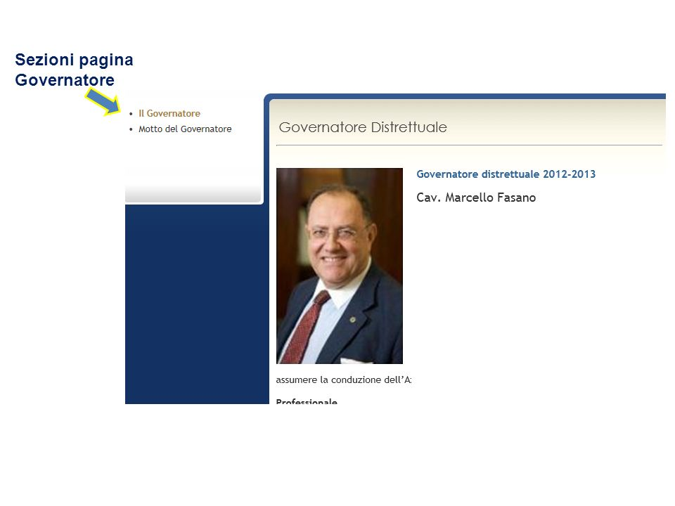Sezioni pagina Governatore