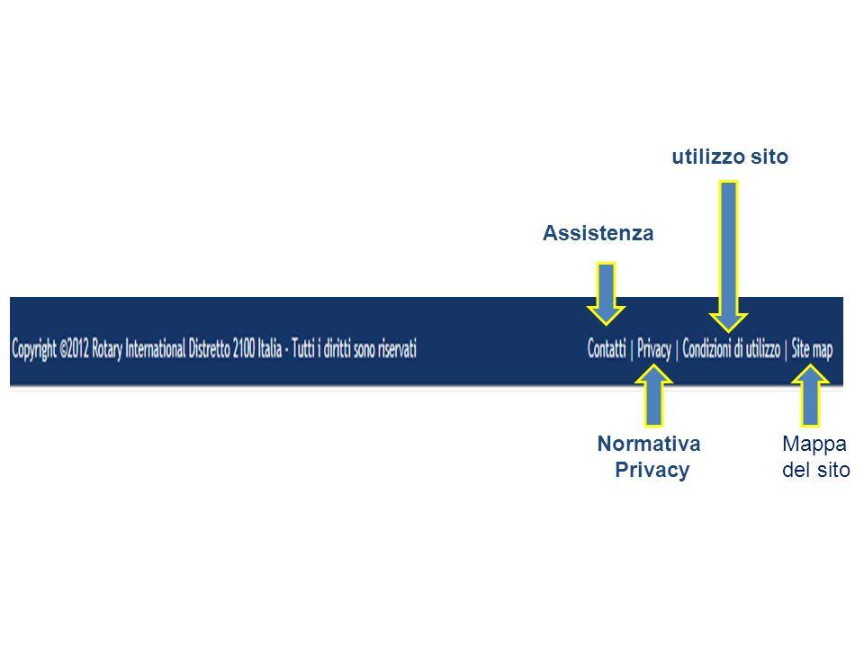 utilizzo sito Assistenza Normativa Privacy Mappa del sito