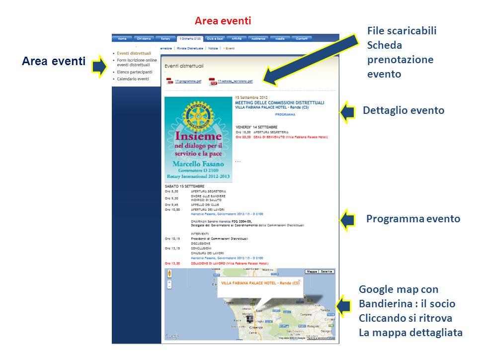 Area eventi File scaricabili. Scheda prenotazione. evento. Area eventi. Dettaglio evento. Programma evento.