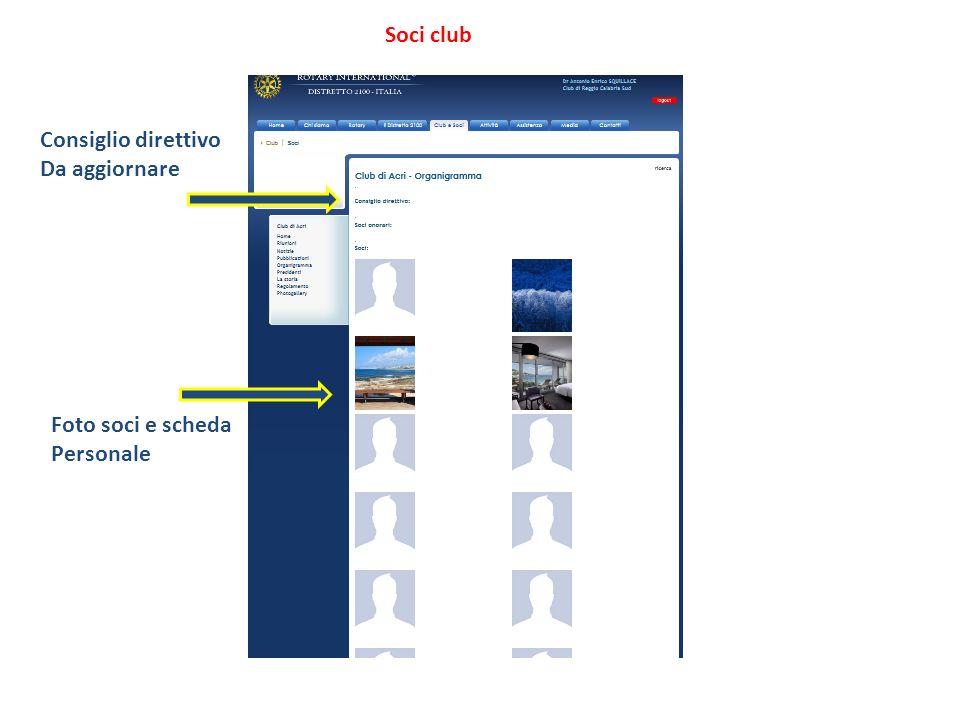 Soci club Consiglio direttivo Da aggiornare Foto soci e scheda Personale
