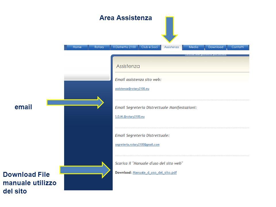 Area Assistenza email Download File manuale utilizzo del sito