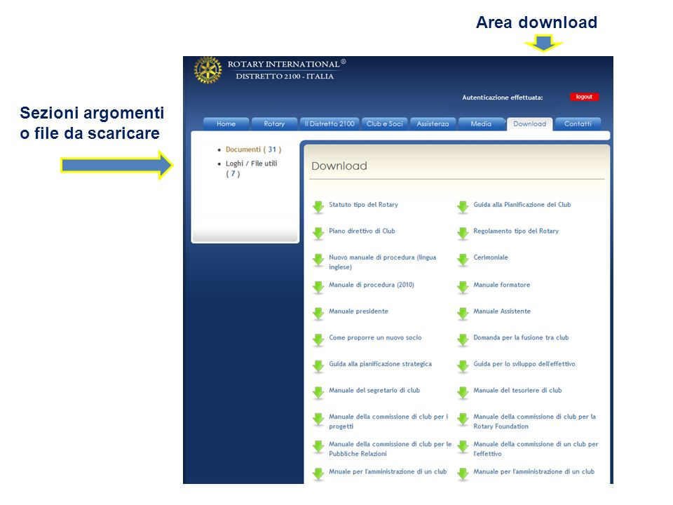 Area download Sezioni argomenti o file da scaricare