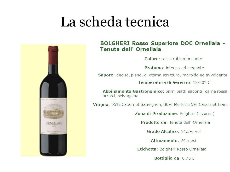 La scheda tecnica BOLGHERI Rosso Superiore DOC Ornellaia - Tenuta dell Ornellaia. Colore: rosso rubino brillante.