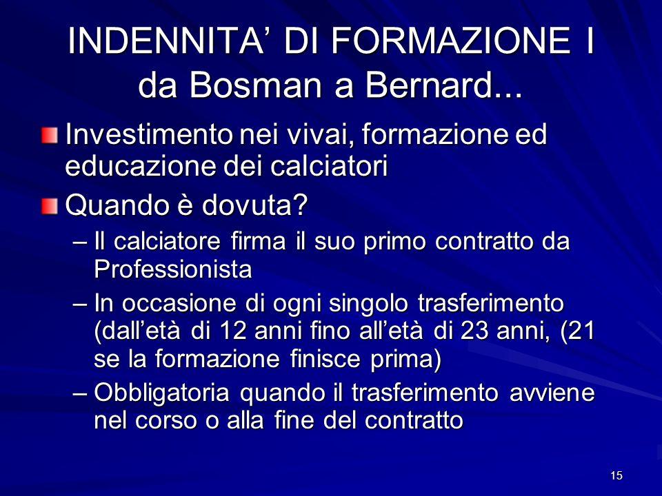 INDENNITA' DI FORMAZIONE I da Bosman a Bernard...