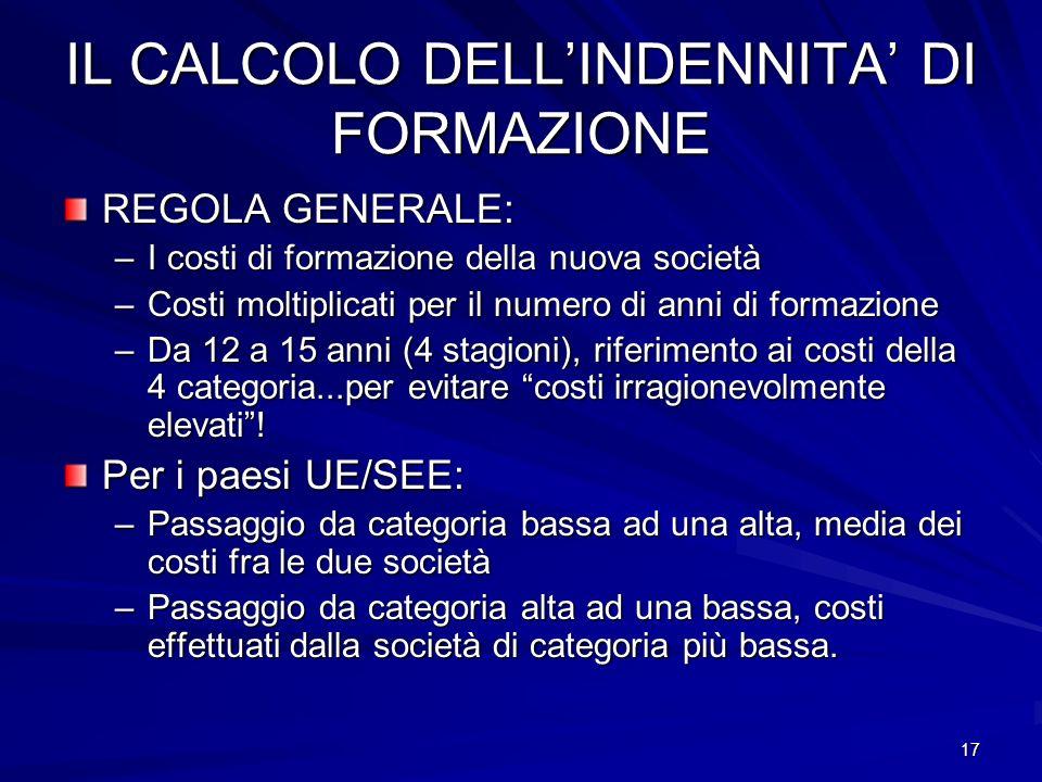 IL CALCOLO DELL'INDENNITA' DI FORMAZIONE