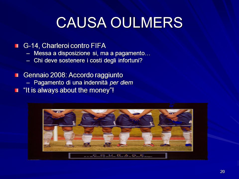 CAUSA OULMERS G-14, Charleroi contro FIFA