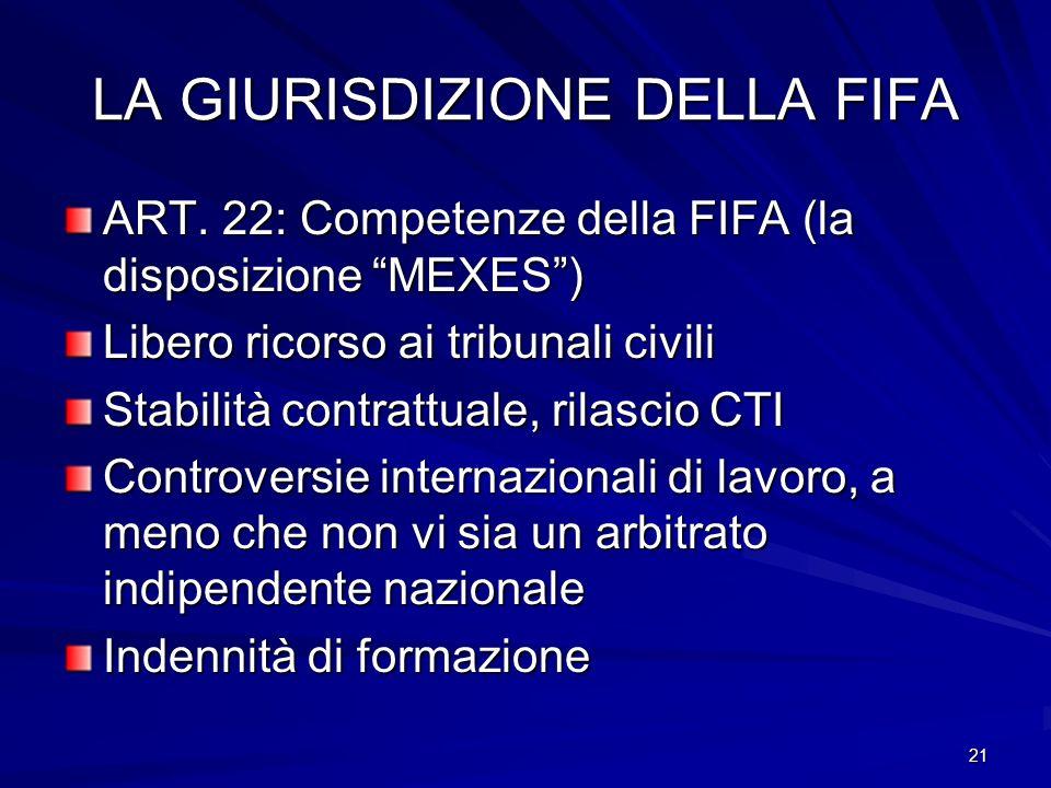 LA GIURISDIZIONE DELLA FIFA