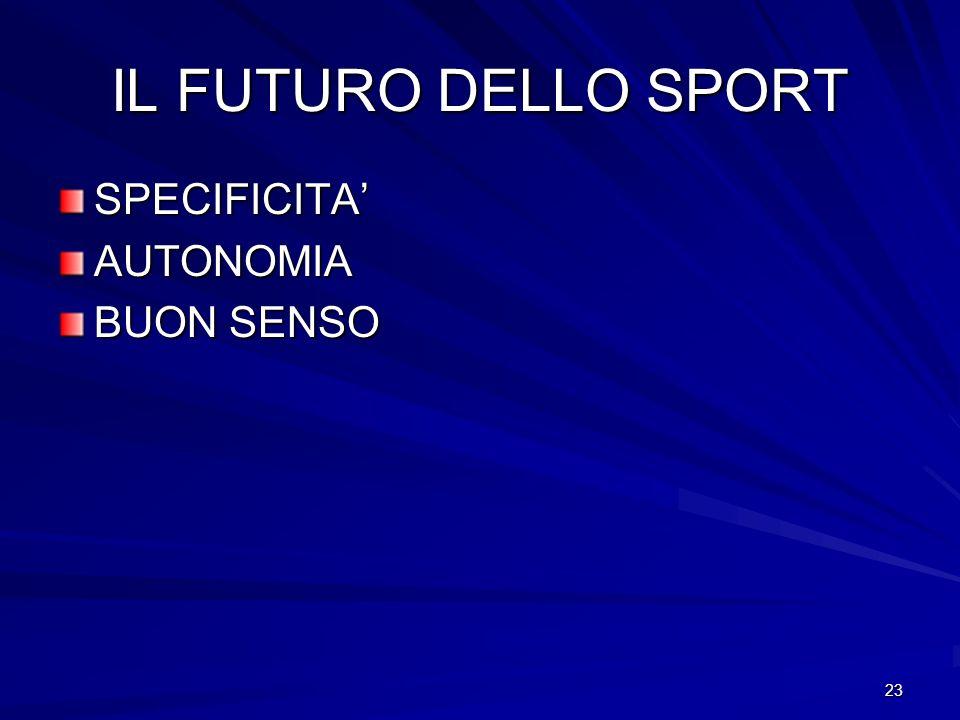 IL FUTURO DELLO SPORT SPECIFICITA' AUTONOMIA BUON SENSO