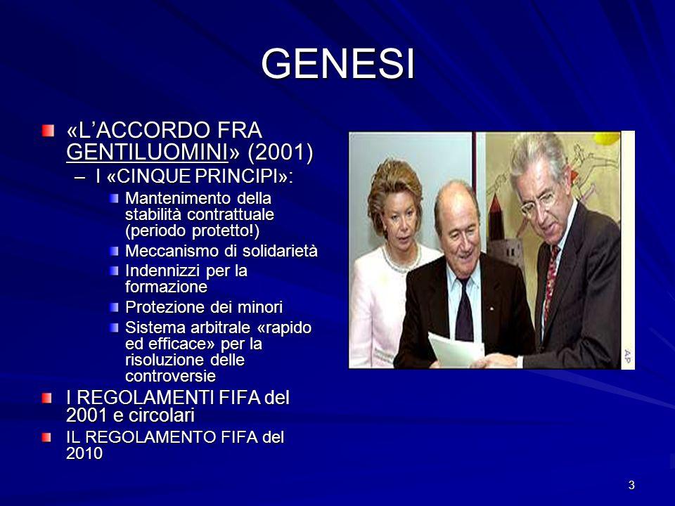 GENESI «L'ACCORDO FRA GENTILUOMINI» (2001) I «CINQUE PRINCIPI»:
