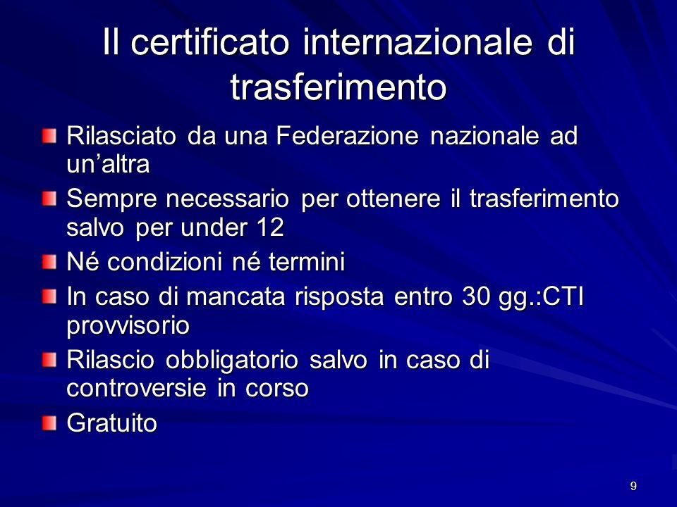 Il certificato internazionale di trasferimento