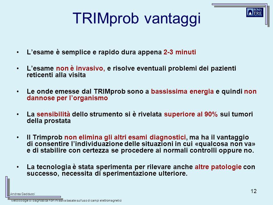 TRIMprob vantaggi L'esame è semplice e rapido dura appena 2-3 minuti