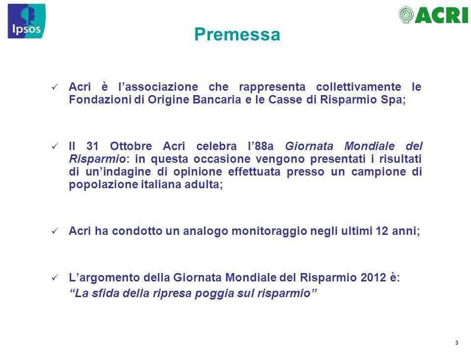 Premessa Acri è l'associazione che rappresenta collettivamente le Fondazioni di Origine Bancaria e le Casse di Risparmio Spa;