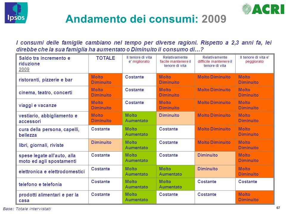 Andamento dei consumi: 2009