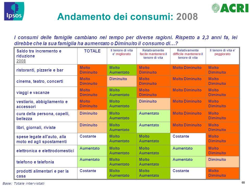 Andamento dei consumi: 2008