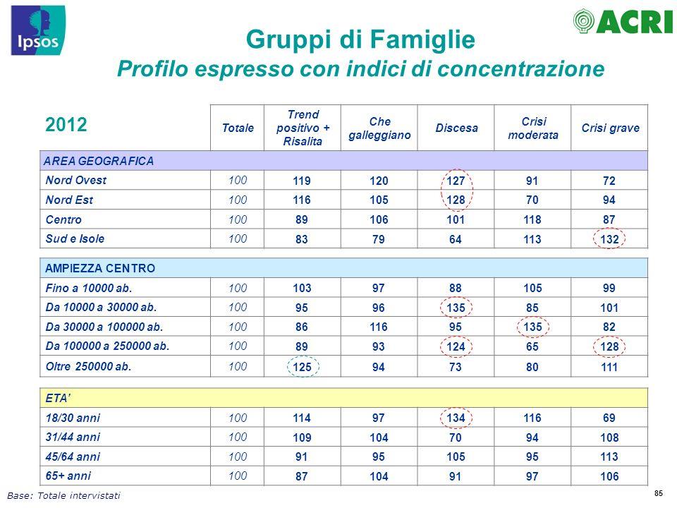Gruppi di Famiglie Profilo espresso con indici di concentrazione 2012