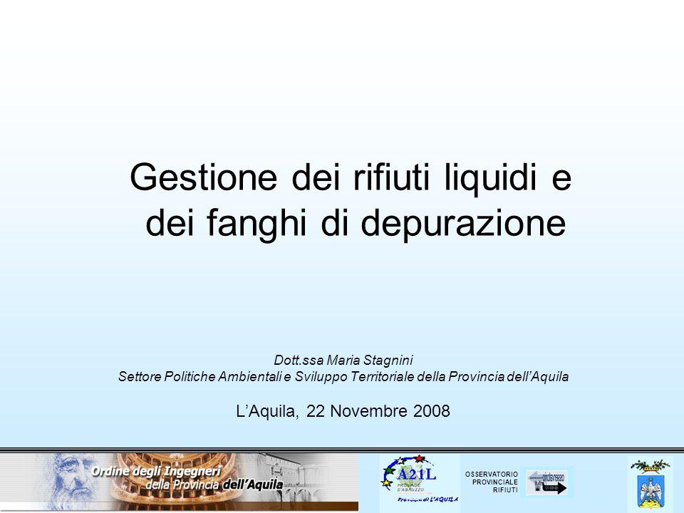 Gestione dei rifiuti liquidi e dei fanghi di depurazione