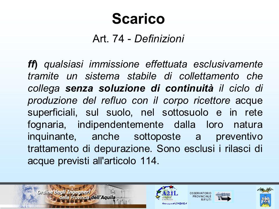 Scarico Art. 74 - Definizioni