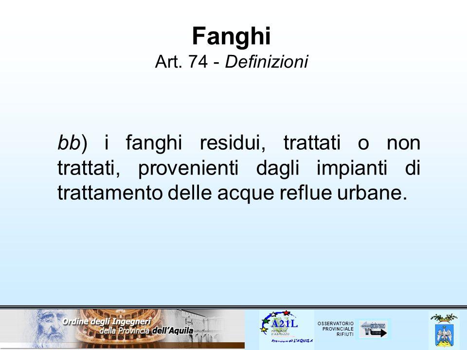 Fanghi Art. 74 - Definizioni