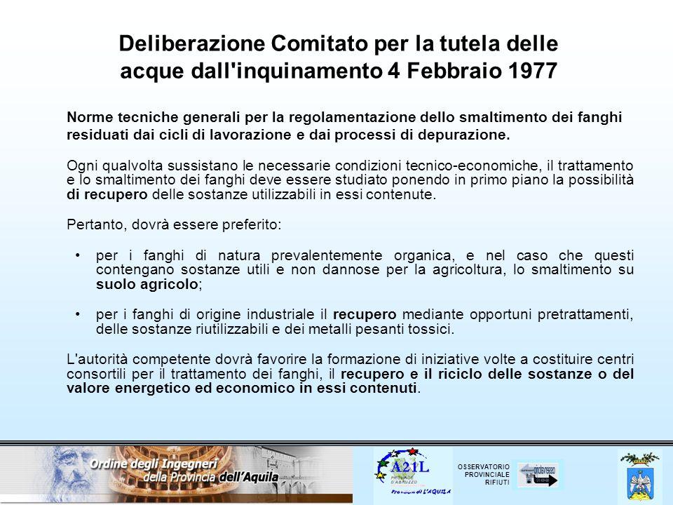Deliberazione Comitato per la tutela delle acque dall inquinamento 4 Febbraio 1977