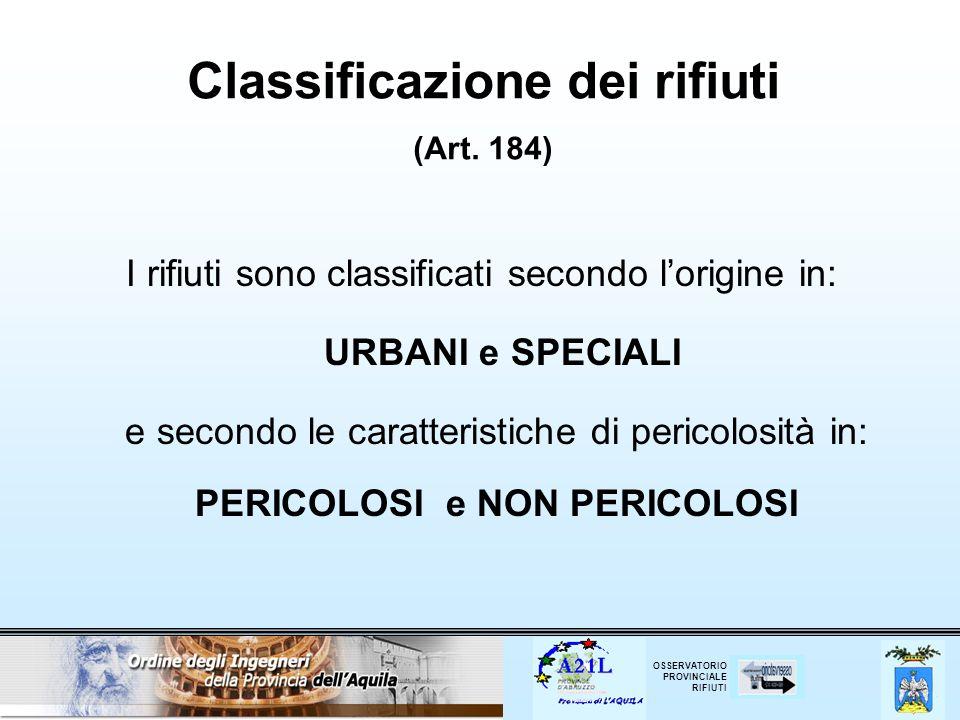 Classificazione dei rifiuti (Art. 184)