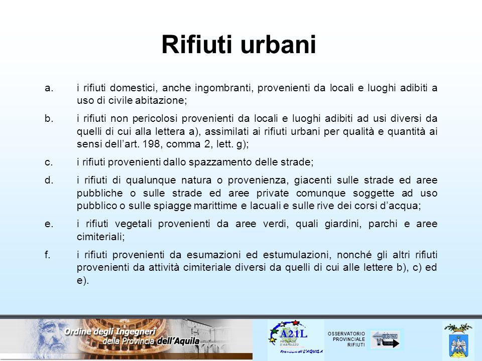 Rifiuti urbani i rifiuti domestici, anche ingombranti, provenienti da locali e luoghi adibiti a uso di civile abitazione;