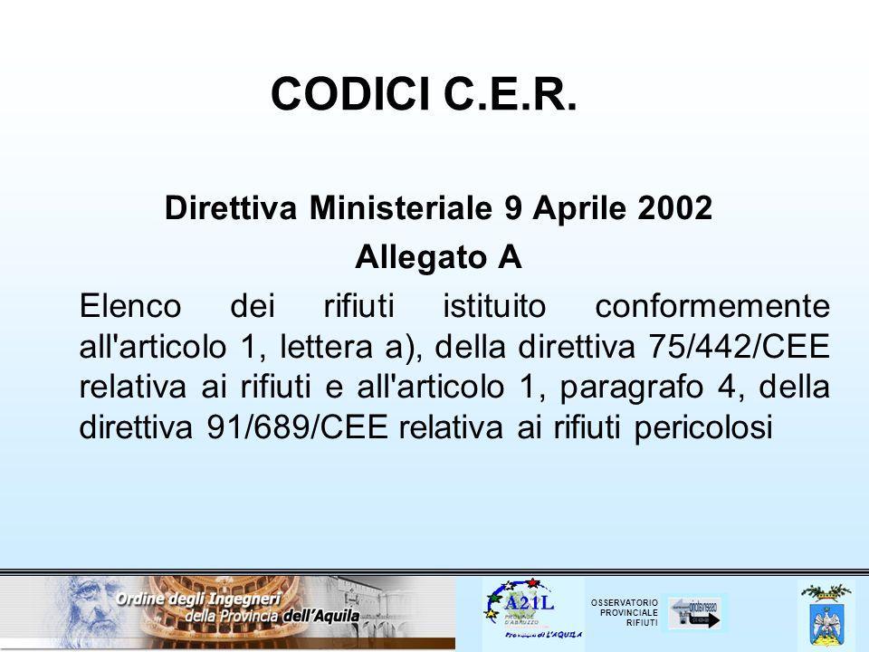 Direttiva Ministeriale 9 Aprile 2002