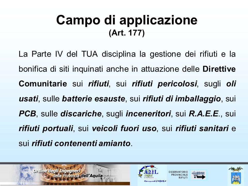 Campo di applicazione (Art. 177)