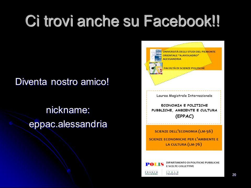 Ci trovi anche su Facebook!!